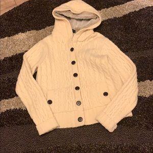 Hooded 100% lambs wool hooded cardigan